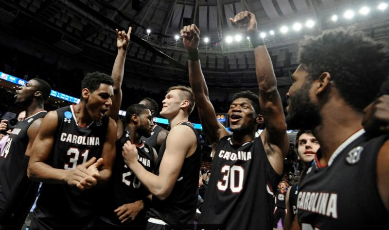 South Carolina players celebrating their first Elite Eight appearance in school history. (AP Photo)