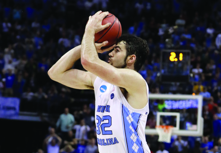 North Carolina forward Luke Maye (32) shoots the winning basket in the second half of the South Regional final game in the NCAA college basketball tournament Sunday, March 26, 2017, in Memphis, Tenn. The basket gave North Carolina a 75-73 win. (AP Photo/Mark Humphrey)