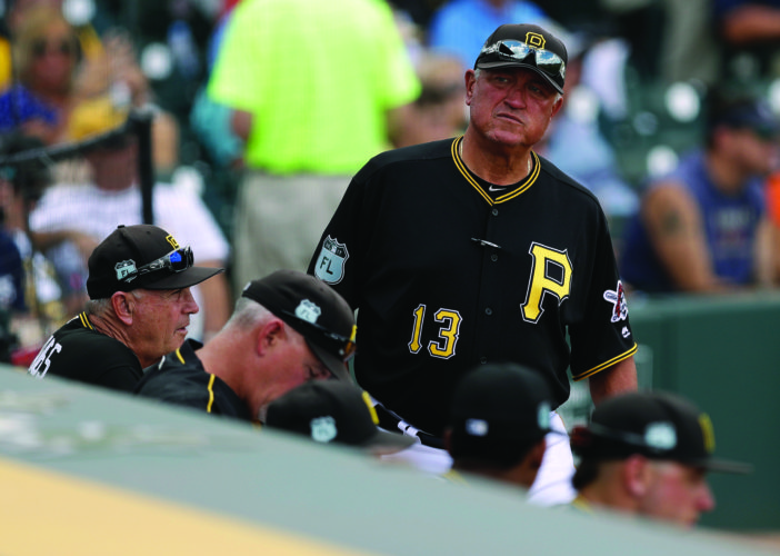 Pittsburgh Pirates manager Clint Hurdle during the fifth inning of a spring training baseball game against the Detroit Tigers Saturday, March 25, 2017, in Bradenton, Fla. (AP Photo/Chris O'Meara)