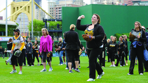 Women partake in the 2016 Women's Baseball Clinic at PNC Park in Pittsburgh, Pennsylvania. 2017's edition launches Sunday, April 23. (Photo courtesy of the Pittsburgh Pirates)