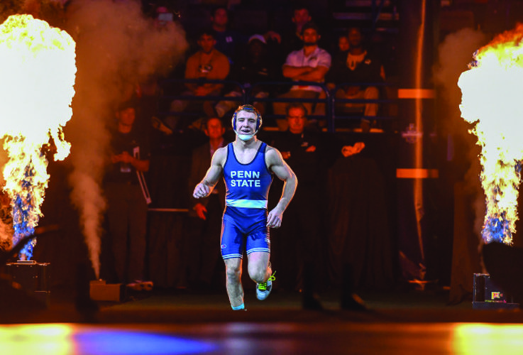 Penn State's Zain Retherford, the No. 1 seed at 149, heads to the mat took on No. 3 Lavion Mayes of Missouri in the finals of the  2017 NCAA Div I Wrestling Championships at the Scottrade Center in St. Louis. (Photo courtesy of Penn State University)