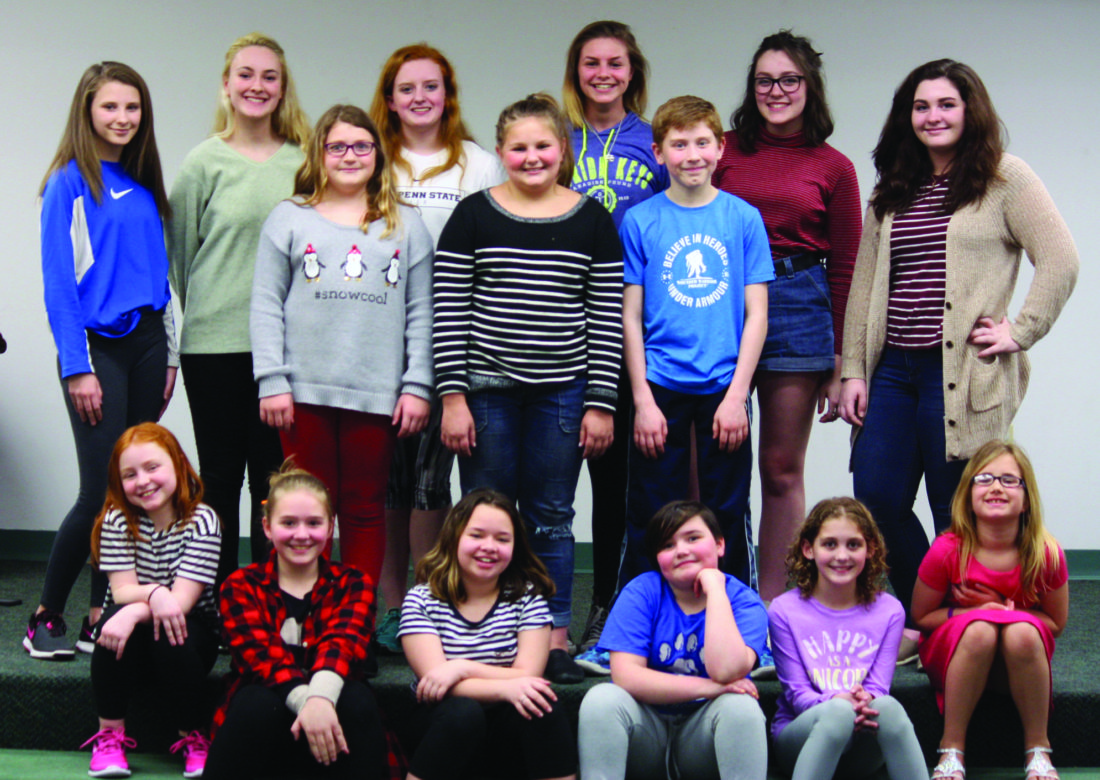 PHOTO PROVIDED Members of the Millbrook Playhouse Youth Ensemble include, in front: Emily Chapman of Mill Hall, Kendall Eichenlaub of Jersey Shore, Ivy Patterson of Beech Creek, Elizabeth Nestor of Lock Haven, Maia Crowell of Lock Haven and Daisy Samples of Lock Haven; in the middle row: Claire Bowman of Mackeyville, Elaina Shaffer of Jersey Shore and Garrett Cunningham of Woolrich; and in back: Olivia Miller of Lock Haven, Katie Owens of Loganton, Aimee Hunsinger of Mill Hall, Elizabeth Shaffer of Jersey Shore, Olivia Hanna of Lock Haven and Bri Bottorf of Lock Haven.