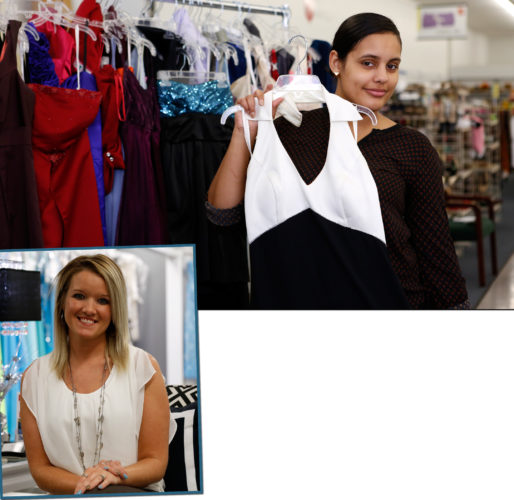 At top, Salena Santiago, an LHUstudent and intern at the Salvation Army, displays one of the gowns. At left, Embellish owner Ashley Cramer talks about the dress donation. SPENCER McCOY/THE EXPRESS