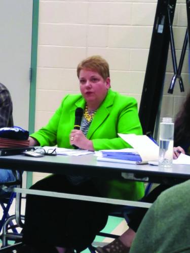Superintendent Kelly Hastings speaks at last night's finance  committee meeting.  KEVIN McKEE/ THE EXPRESS