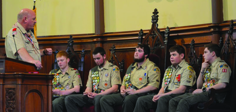 """PHOTOS PROVIDED U.S. Congressman Glen """"GT"""" Thompson, left, talks to the five new Eagle Scouts, from left, Garrett Waite, Justin Somers, Zach Frankhouser, Aaron Shultz and Ian Sproat."""