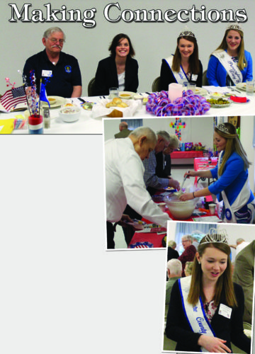 PHOTOS PROVIDED Above from left are legislative director/lobbyist for the Pennsylvania State Grange Vince Phillips, Centre County Pomona Grange Master Ashley Furman, Centre County Grange Fair Queen Emma Spackman, and Pennsylvania State/Centre County Dairy Princess Halee Wasson. At right, Wasson serves punch to guests. At bottom, Spackman socializes at the event.