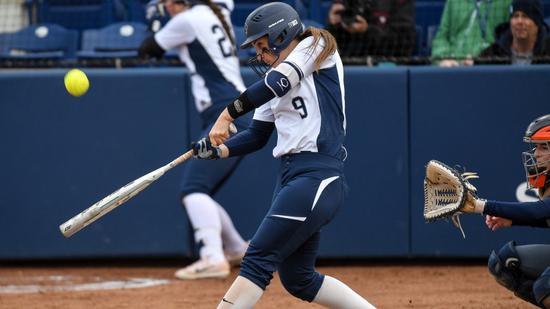 Penn State's Tori Dubois (9) during the game with Bucknell.  The Nittany Lions earned a two-game sweep of in-state foe Bucknell Wednesday, April 19, 2016 in a mid-week non-conference contest at Nittany Lion Softball Park and Beard Field.  Photo by Mark Selders