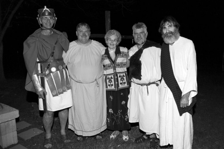 "PHOTO PROVIDED Cast members of the traveling Passion Play ""Christ Lives"" include, from left, Tom Meyer, Vaughn Meyer, Eleanor Benner, Charlie Dotterer and Dave Benner. All five have been with the production for all of its 40 years."