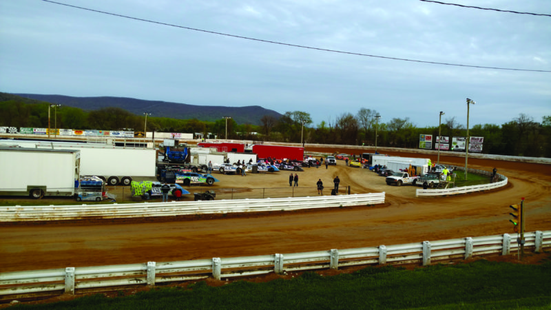 Pit action before a race at Selinsgrove Speedway on Saturday night. (Photo courtesy of Jamie Bird)