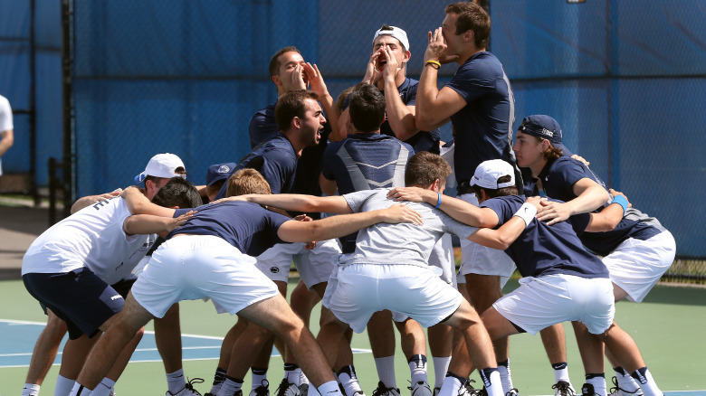 Penn State men's tennis team huddles before their matches against Minnesota on April 16, 2017. The Nittany Lions upset No. 31 Minnesota. Photo/Craig Houtz