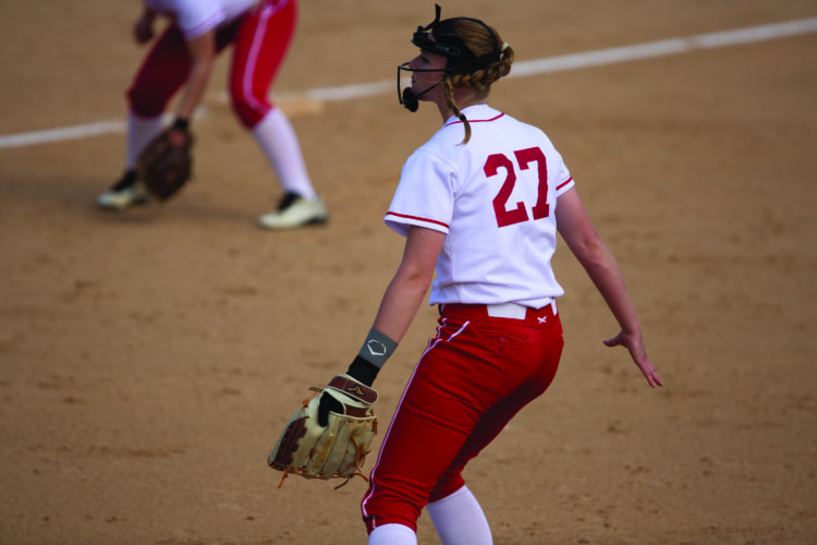 Taylor Kerr (21) of Bellefonte High School tags out Maegan Miller (17) of Central Mountain High School. Bellefonte won 1-0 yesterday in baseball action at Mill Hall. (The Express/Spencer McCoy)