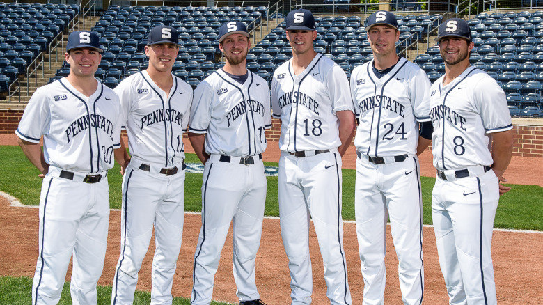 Penn State's seniors Dakota Forsyth, Christian Helsel, Alex Malinsky, Tom Mullin, Tim Scholly and Nick Riotto were all honored after the Nittany Lions game on Saturday. (Photo courtesy of Penn State University baseball)