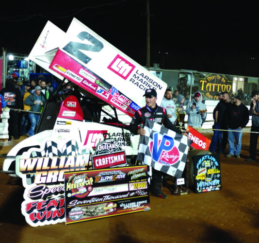 Race car driver Shane Stewart in victory lane at Williams Grove Speedway. He won the Morgan Cup with his first win at the Grove. (Photo courtesy of Jamie Bird)