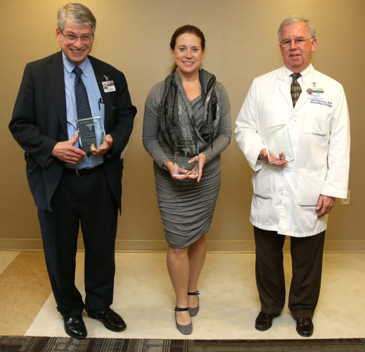PHOTO PROVIDED  The honorees, from left, are Lee Ciccarelli, MD; Susan Branton, MD; and Warren Robinson, MD. Dr. Branton received the top recognition from her patients.