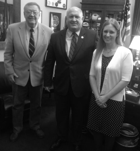 "PHOTO PROVIDED Dick Sodergren (left) of Bellefonte met with Congressman Glenn ""GT"" Thompson (center) during a March trip to Washington DC to discuss benefits of stream restoration programs in the upper Chesapeake Bay watershed. Amy Wolfe (right), who works for Trout Unlimited, accompanied Sodergren as they visited several Congressional offices."