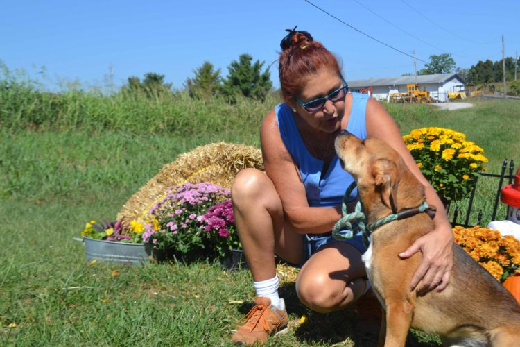 BRECKIN WELLS   The Marietta Times Humane Society of the Ohio Valley Volunteer Renee Benz cuddles with one of their friendly dogs, Dutch, on Wednesday.