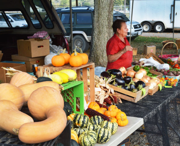 DOUG LOYER  Special to the Times Debbie Murphy tends to the Murphy Farms stand at the River City Farmers Market.