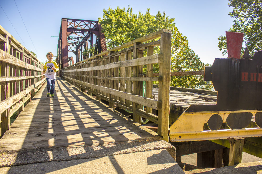 JANELLE PATTERSON   The Marietta Times Matthew Cross, 5, of Belmont, runs across the Harmar Railroad Bridge Wednesday.