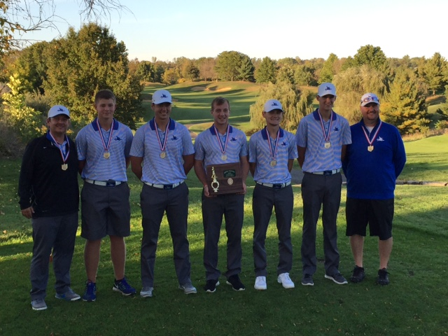 Photo submitted The Warren High golf team will compete in the state tournament Friday and Saturday. From left to right are head coach Nathan Evans, Austin Barta, Josh Jankauskas, Kyler Dennis, Max Hapney, Nick Ward and assistant coach Andy Biddinger.