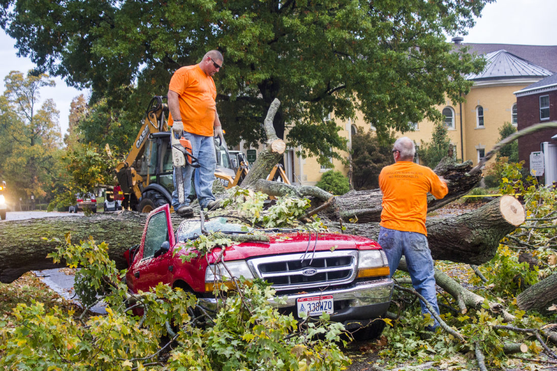 JANELLE PATTERSON   The Marietta Times Left, Jason Grosklos, and right, Vince Jett, work to remove the maple tree from Lee Peterson's Ford truck following the storm Thursday in Marietta.