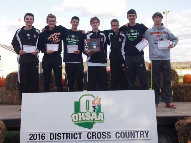 Photo provided The Marietta High boys cross country team placed fourth as a team at the district meet in Rio Grande to advance to this weekend's regional meet in Pickerington.