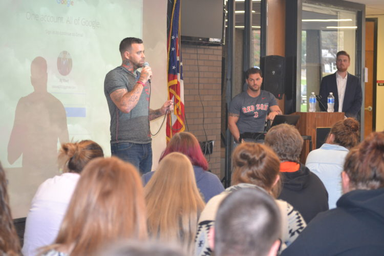 PEYTON NEELY   The Marietta Times Guest speaker RJ Vied, of Florida, shared the story of how he overcame drug addiction with students at the Washington County Career Center on Thursday.
