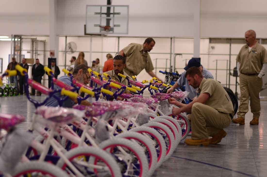 HANNAH KITTLE   The Marietta Times  Inmates work during a bike build at the Noble Correctional Institution on Wednesday.