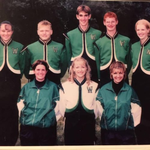 Photo submitted by Mandi Ponchak   Rachel Cunningham Reutzel, center, is shown alongside fellow seniors in the marching band from the 2001 Waterford High School graduating class.
