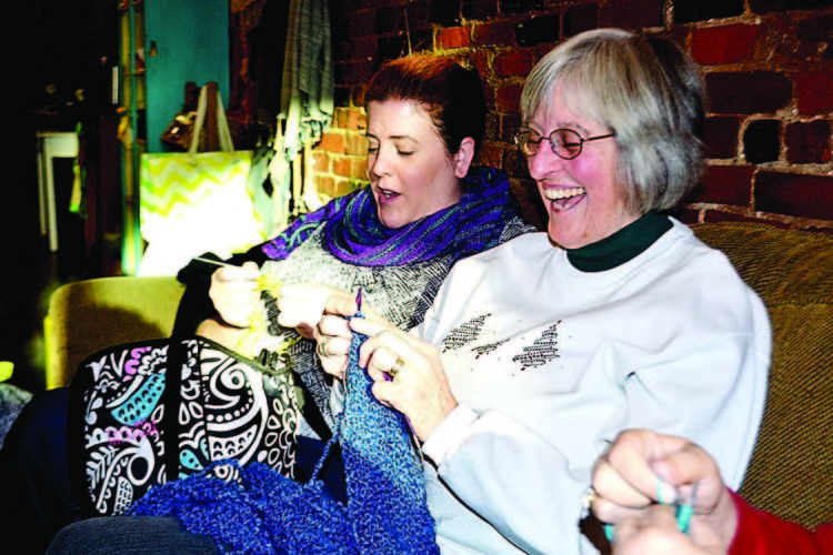 PEYTON NEELY   The Marietta Times Kathleen Harmon, 39, of Marietta and Betsy Kalter, 61, of Marietta knit during their knitting club at Jeremiah's Coffee House on Front Street.
