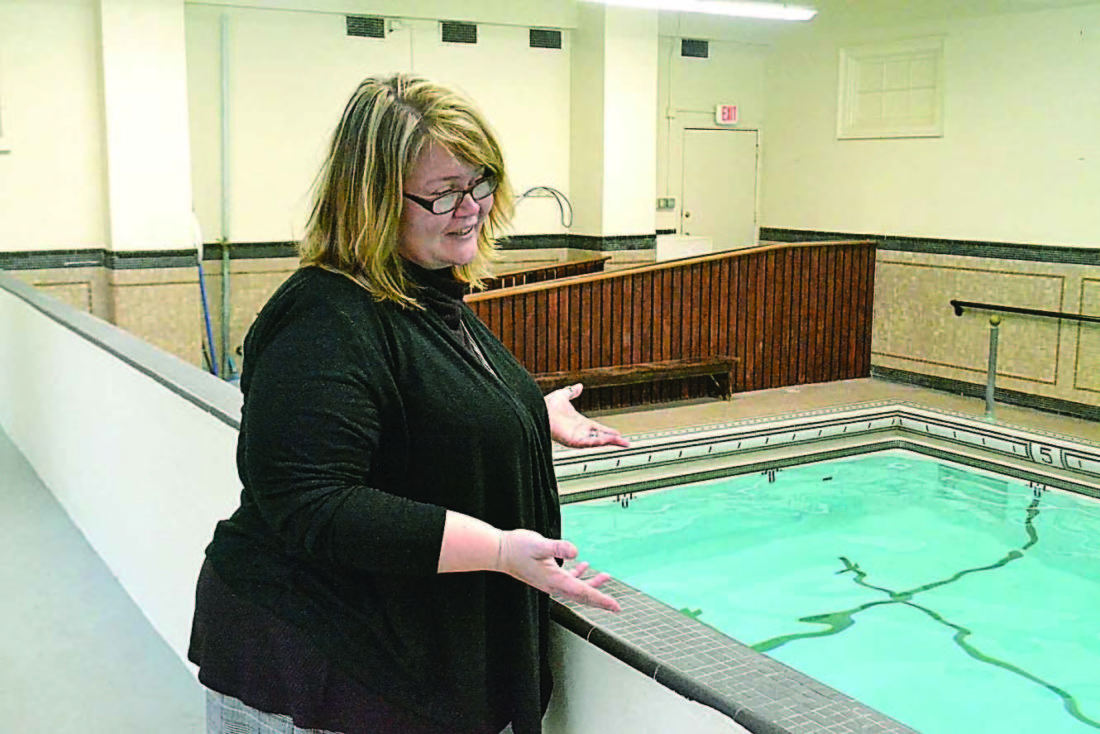 PEYTON NEELY   The Marietta Times Jocelyn Adelsperger, executive director, discusses new programs that will be offered at the pool in the Betsey Mills Club on Tuesday.