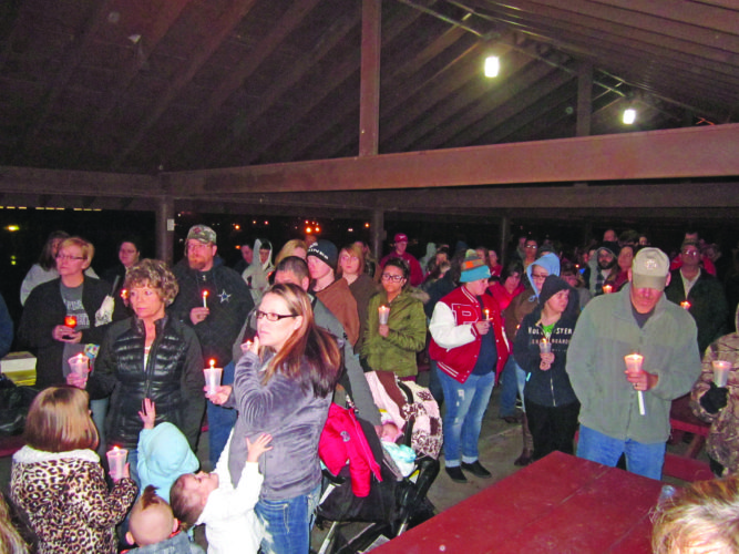 Wayne Towner   Special to the Times A candlelight vigil was held Saturday evening at City Park to remember Brandy and Shawn Hardman, of Waverly, who died in a shooting incident last Tuesday in Mineral Wells involving an estranged couple.