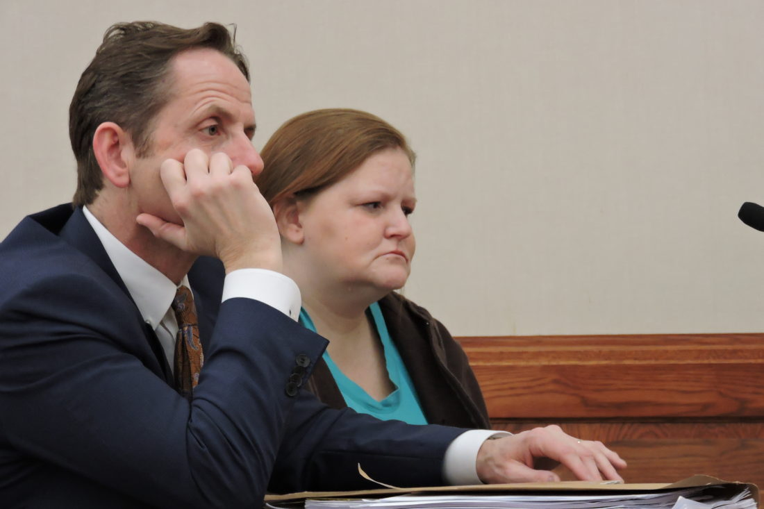 SAM SHAWVER   The Marietta Times Waterford resident Shanna Gorrell received a sentence of 30 days in jail and three years of community control in Washington County Common Pleas Court Thursday. At left is her defense attorney, Rolf Baumgartel.