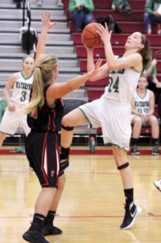 Waterford's Megan Ball goes up for a shot while a Fairfield defender tries to draw a charge during the Wildcats' 46-17 win over the Lions Saturday in a Division IVsemfinal matchup. MIKE MORRISON, The Marietta Times
