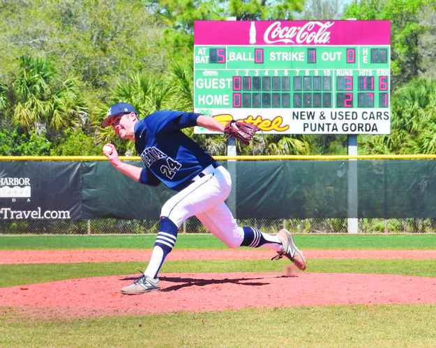 Photo courtesy of Beth Crowl Marietta College's David Stover throws a pitch during a college baseball game against No. 19 Keystone Thursday at Port Charlotte, Fla.