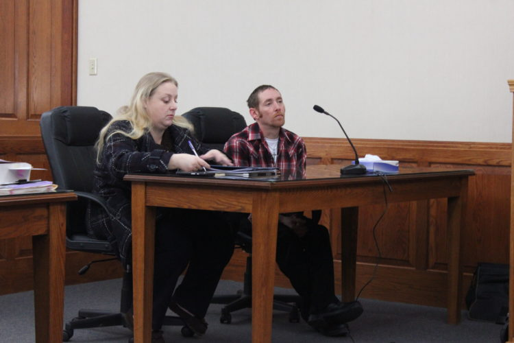 JANELLE PATTERSON   The Marietta Times Nicholas Offenberger, right, and his defense attorney Shawna Landaker, await the imposition of Offenberger's sentence in Washington County Common Pleas Court Wednesday.