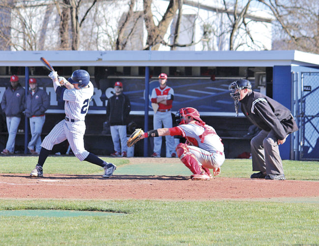 Marietta College's Connor Golden takes a swing during the team's home opener against Denison University. Photo courtesy of France Moise.