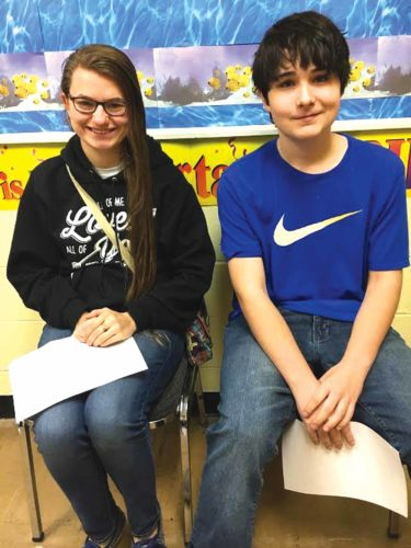 Belpre High School students Aleksi Hendershot, left, and Robert Allen were named the March Students of the Month.