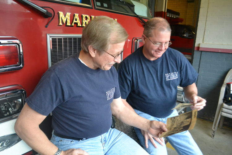PEYTON NEELY   The Marietta Times Marietta firefighters Jack Hansis and Tim Casto reflect on some of their first runs together that resulted in stories in The Marietta Times in 1988.