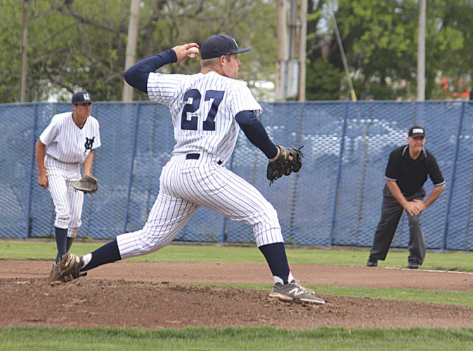 Marietta College's Ian Luttrell pitches during the team's sweep of Wilmington Sunday in Marietta. Photo courtesy of France Moise.