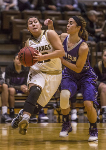 Independent file photo SMSU's Taylor Silva drives to the paint during the Mustangs' game against the University of Sioux Falls Saturday.