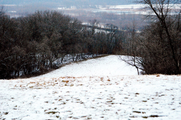 Pictured is the sledding hill at Upper Sioux Agency State Park. This hill is ranked 8th in the state for best sliding, according to park personnel and the park's Facebook page.  Below: