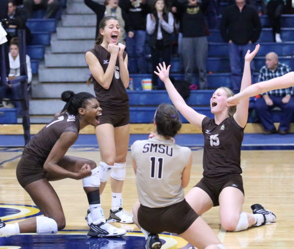 Photo courtesy of Jordan Vredeveld/CSP Athletics  SMSU teammates, from left, Eisha Oden, Megan Larson, Amber Messner and Erin Corrigan celebrate during the Mustangs' match against the Augustana Vikings on Friday.