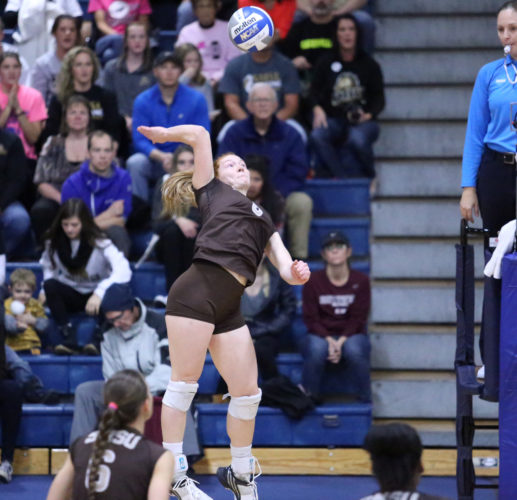 SMSU's Kaylee Burmeister goes up for the ball during the Mustangs' match against Concordia-St. Paul on Saturday.