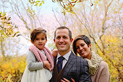 Submitted photo Ben Wiener is pictured with his wife, Leah, and their daughter, Tessa, 4. The couple is in the process of adopting a baby boy. Wiener is active in his church and community as well as having founded the new Guiding Light Marketing consulting business in Marshall that uses a digital billboard to clients' advantage.