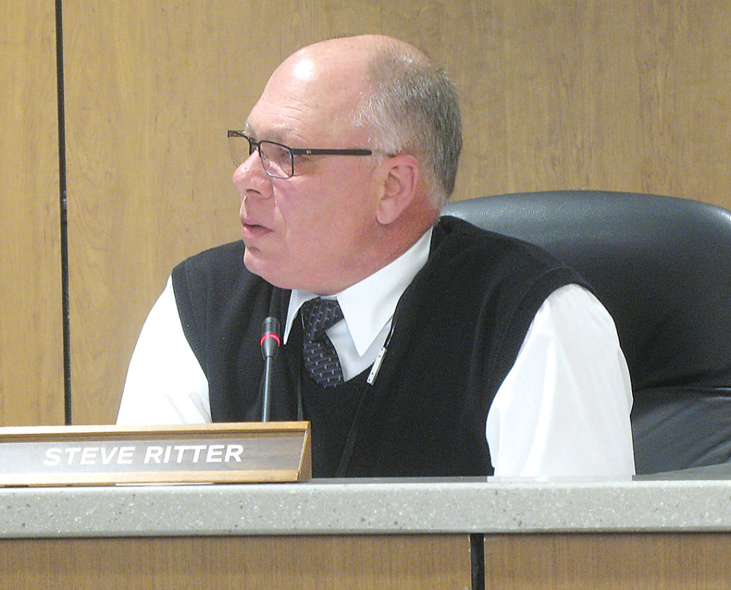 Photo by Deb Gau Lyon County Commissioner Steve Ritter makes a point during Tuesday's board meeting.