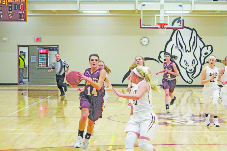Wabasso's Alison Benz drives in the first half against Dawson-Boyd. The Rabbits won 70-31.