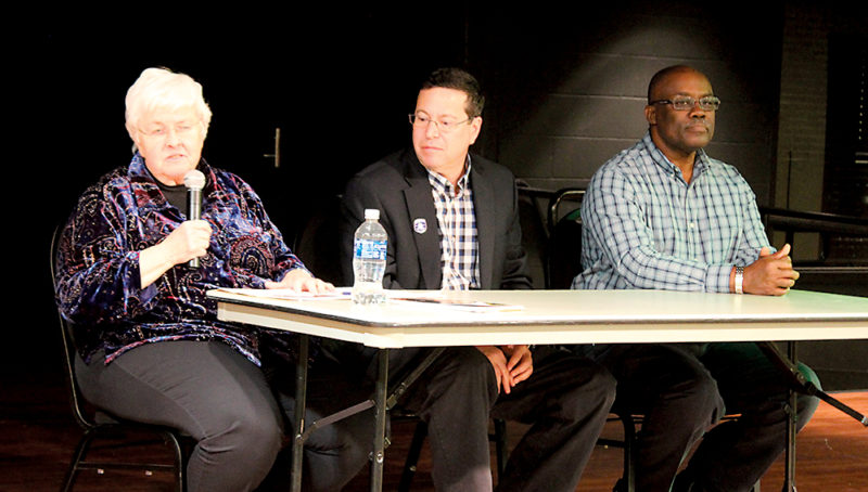 Photo by Deb Gau From left to right, writer and Freedom Rider Joan Browning, SMSU professor Jeff Kolnick, and Marshall resident Gary Watson took part in a panel discussion Wednesday night at the university.