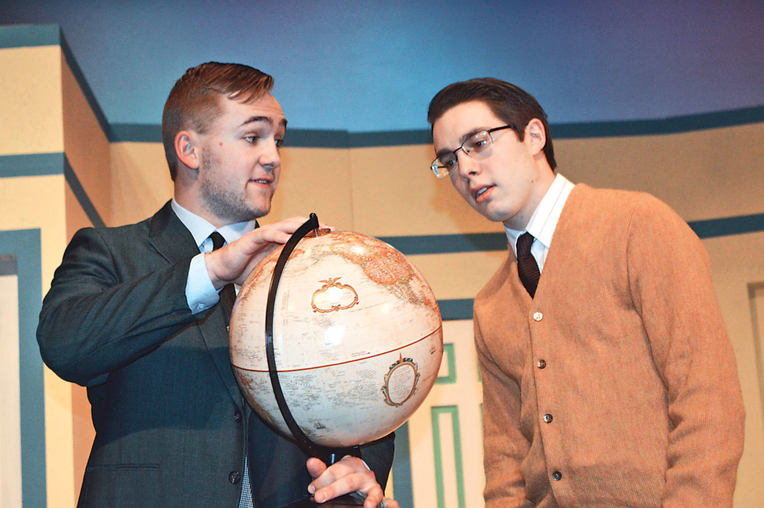"Top: Paul Ragan, as Bernard, and Dean Zinda, as Robert, rehearse a scene from Southwest Minnesota State University Theater's production of ""Boeing Boeing,"" which opens today."