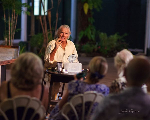 "Rick Scheideman continues his rotating one-man show series with ""An Evening with Einstein"" on Sunday, ""An Evening with Mark Twain"" on Oct. 16 and ""The Old Man and the Sea"" on Oct. 23. Performances are at 6:30 p.m. Sundays through Dec. 11 at the Pioneer Inn courtyard in Lahaina. Courtyard dining is also available. Tickets are $22 and may be reserved by calling (303) 507-0987 or purchased at the door. JACK GRACE photo"