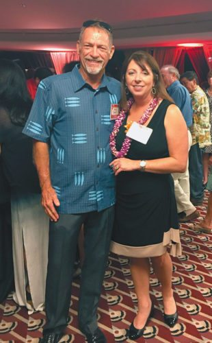 "Waikapu – Maui Humane Society Director Jerleen Bryant and Peter Tierney, Maui County Animal Coalition chairman and Society for the Prevention of Cruelty to Animals Maui board of directors president, attend the ""Paws Vegas"" Fur Ball at King Kamehameha Country Club recently; photo by Ruby Hernandez."